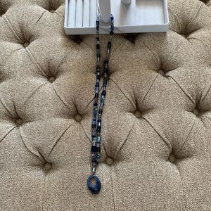 Blue Pendant Beaded Necklace